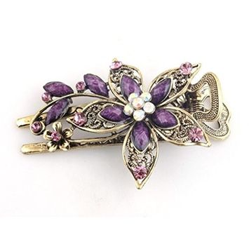 Creazy® Vintage Jewelry Crystal Hair Clips Hairpins For Hair Clip Tools (Purple)