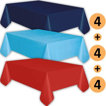 12 Plastic Tablecloths - Navy, Turquoise, Red - Premium Thickness Disposable Table Cover, 108 x 54 Inch, 4 Each Color