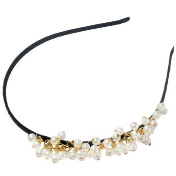 niceeshop(TM) Fashion Bling Rhinestone Hair Hoop Crystal Bead Headband For Bang Fringe-Black