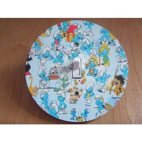 THE SMURFS Light switch Cover 5 Inch Round (12.5 cms) Switch plate Switchplate