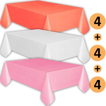 12 Plastic Tablecloths - Coral, White, Classic Pink - Premium Thickness Disposable Table Cover, 108 x 54 Inch, 4 Each Color