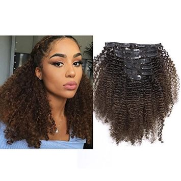Ombre Afro Kinky Curly Hair Extensions Human Hair Clip in Extensions 4B 4C 10-22 inch Color T#1B/4 Black to Dark Brown Thick Natural Balayage Hair Extensions For Black Women (20 inch, Ombre T1B/4 AC)