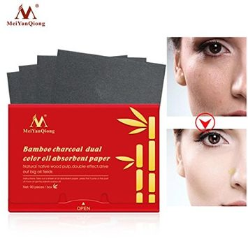 LiPing 90PCS Bamboo Charcoal Two Color Make Up Oil Absorbing Blotting Facial Beauty Salon Device Skin Care Cleansing Tool Facial Cleansing Devices