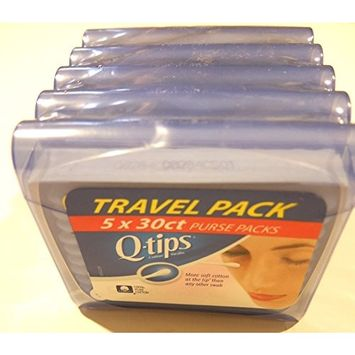 Q-Tips Cotton Swab Travel Purse Pack 30 ct [Pack of 5]