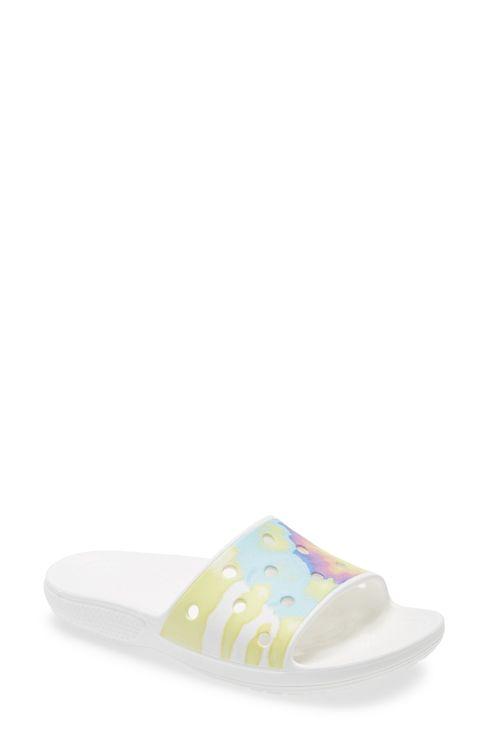 Crocs(TM) Classic Camo Print Slide Sandal, Size 8 Women's - White