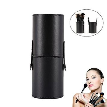 Makeup Brush Holder, PU Leather Travelling Makeup Organzier Case, Cosmetic Display Case(Black)