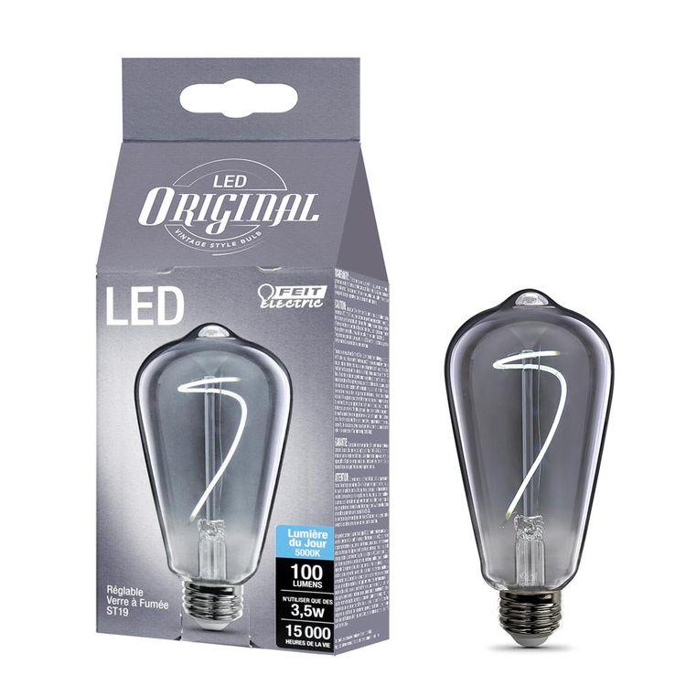 Feit 40-Watt Equivalent ST19 Dimmable LED Smoke Vintage Style Light Bulb Daylight Medium (E26)
