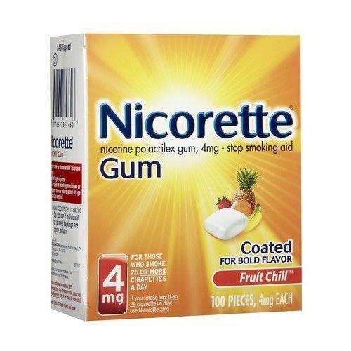 Nicorette OTC Stop Smoking Nicotine Gum, 4mg-fruit Chill-100 Ct