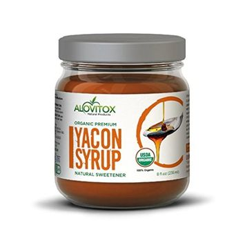 Yacon Syrup - Low Sugar Natural Sweetener and sugar substitude - Keto Friendly-Certified Organic by Alovitox - 8 fl oz Non-Plastic Jar - Pure Highest Quality Gluten Free Vegan
