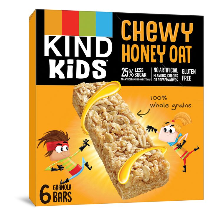 KIND KIDS Chewy Honey Oat Granola Bars, 100% Whole Grains, Gluten Free Bars, 0.81 OZ Bars (6 Count)