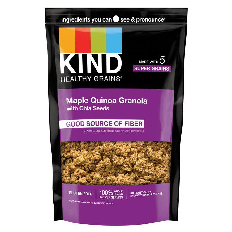 KIND HEALTHY GRAINS Healthy Snack Granola, Maple Quinoa Granola with Chia Seeds, Snack Mix 11 OZ