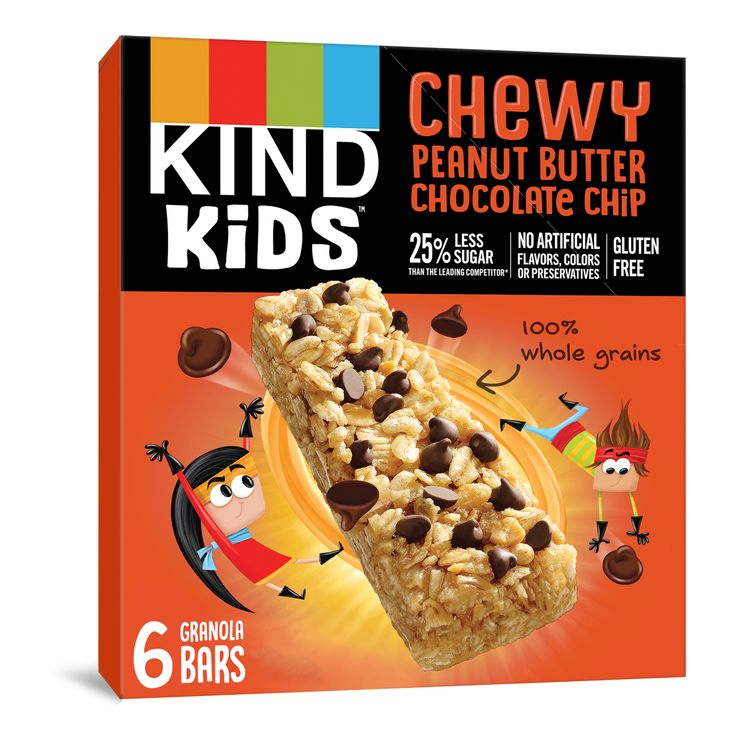 KIND KIDS Chewy Peanut Butter Chocolate Chip Granola Bars, 100% Whole Grains, Gluten Free Bars, 0.81 OZ Bars (6 Count)
