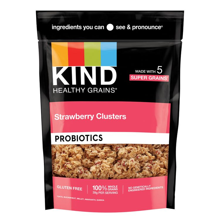 KIND HEALTHY GRAINS Granola, Healthy Snack, Strawberry Probiotic Granola Clusters, Snack Mix, 7 OZ