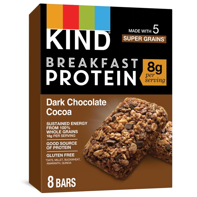 KIND Breakfast, Healthy Snack Bar, Dark Chocolate Cocoa, Gluten Free Breakfast Bars, 8g Protein, 1.76 OZ Packs (4 Count)