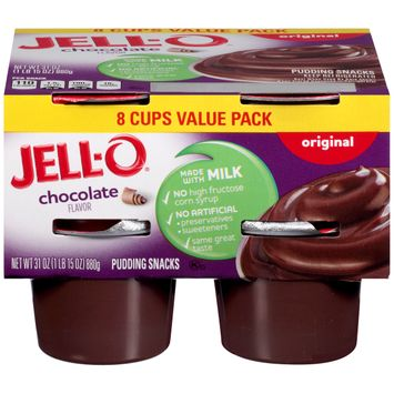 Jell-O Ready to Eat Chocolate Pudding Cups, 8 ct - 31.0 oz Package