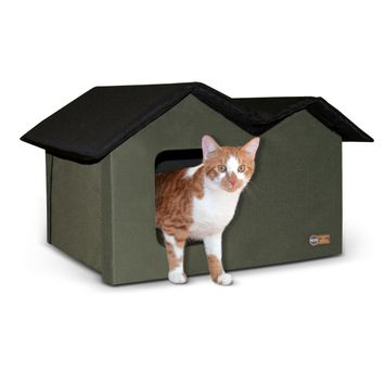 K&H Pet Products Outdoor Kitty House Extra-Wide Unheated Olive 26.5 X 15.5 X 21.5  Inches