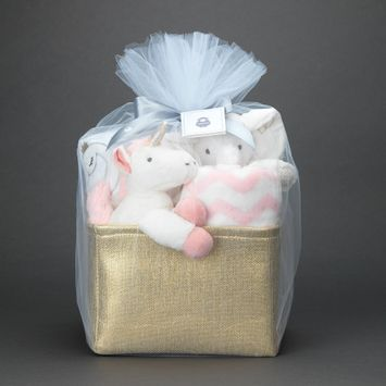Lambs & Ivy Pink/Gold 5-Piece Baby Gift Basket for Baby Shower/Newborn Welcome Home