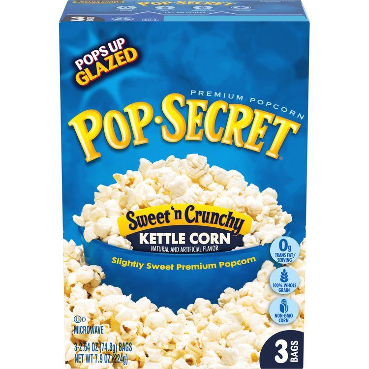 Pop Secret Popcorn, Sweet 'n Crunchy Kettle Corn Microwave Popcorn, 3 Ct Box