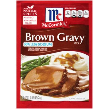 McCormick Less Sodium Brown Gravy Mix, 0.87 Oz