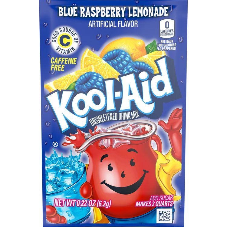 Kool-Aid Unsweetened Blue Raspberry Lemonade Powdered Drink Mix, Caffeine Free, 0.22 oz Packet