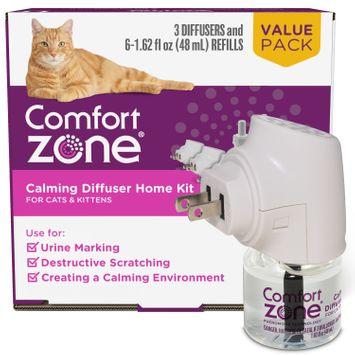 Comfort Zone Cat Calming Diffuser Kit, Cat Pheromone, 3 Diffusers and 6 Refills-48ml, New Formula