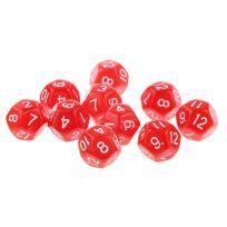 10pcs Douze Faces De Dés D12 Jouer D & D Jeux Rpg Parti Dices Rouge
