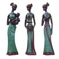 3x Figurine Africaine Sculpture Dame Tribale Figurine Statue à Collectionner Vert