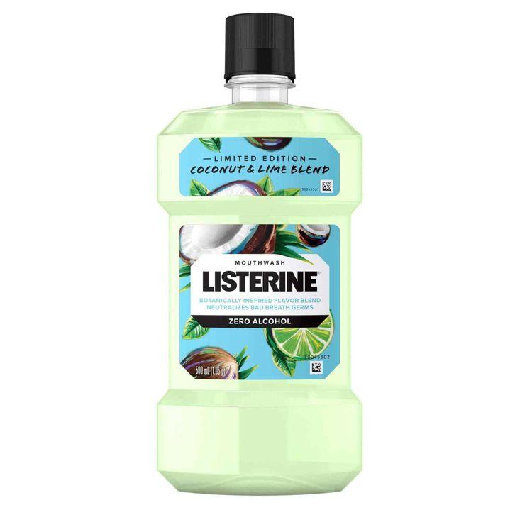 LISTERINE® Zero Alcohol Mouthwash, Coconut & Lime Blend, 500mL