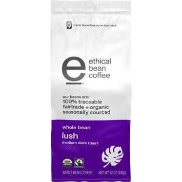 Ethical Bean Fairtrade Organic Coffee, Lush Medium Dark Roast, Whole Bean Coffee, 12 oz. Bag