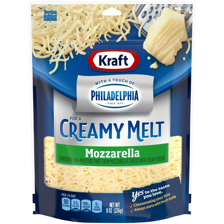 Kraft Mozzarella With a Touch of Philadelphia Shredded Cheese, 8 oz Bag