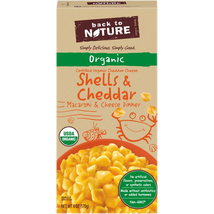 Back to Nature Organic Shells and Cheddar Macaroni and Cheese Dinner, 6 oz Box