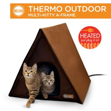 K&H Pet Products Outdoor Multi-Kitty A-Frame Heated Chocolate 35 X 20.5 X 20 Inches (Retail Packaging)