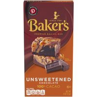 Baker's Unsweetened 100% Cacao Baking Chocolate Bar, 4 oz Box