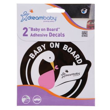 Dreambaby Baby on Board Adhesive Stork 2 Pack - Pink