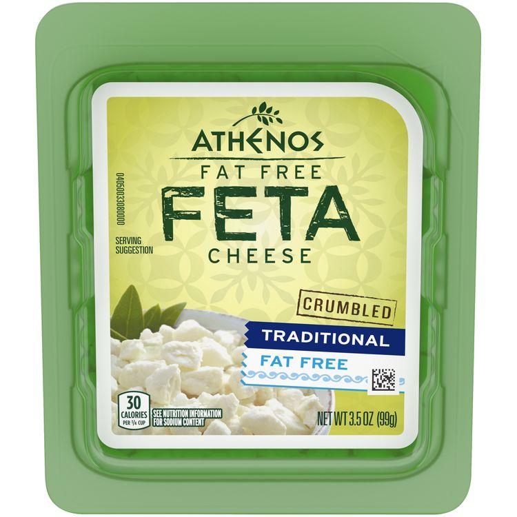 Athenos Traditional Fat Free Feta Cheese Crumbles, 3.5 oz Tub