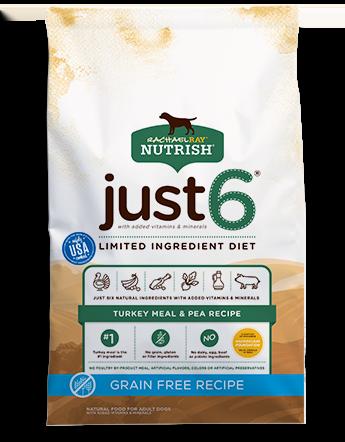 Rachael Ray Nutrish Just 6® Grain Free Turkey Meal & Pea Recipe