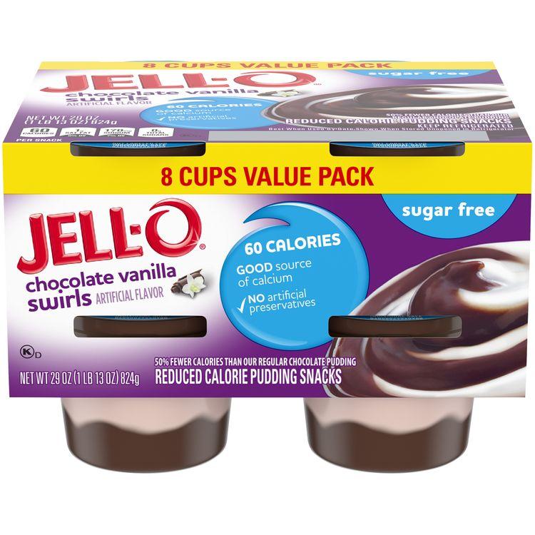 JELL-O Sugar Free Ready to Eat Chocolate Vanilla Swirls Pudding
