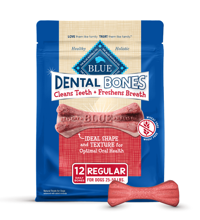 Blue Dental Bones Dog Treats Regular Size Dental Chews