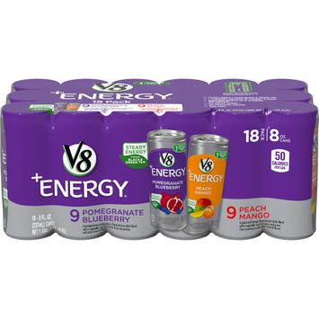V8 +Energy® Variety Pack, Pomegranate Blueberry and Peach Mango, 8 Oz Can (18 Count)