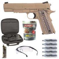 Pack Airsoft Rts Colt 1911 M45A1 Tan Rail Gun + Billes + Lunettes + Gaz Co2 + Lunettes + Housse + Bb Loader