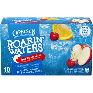 Capri Sun Roarin' Waters Fruit Punch Wave Naturally Flavored Water Beverage with other natural flavors, 10 ct. Box