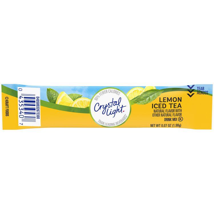 Crystal Light On-The-Go Sugar Free Lemon Iced Tea Powdered Drink Mix, Low Caffeine, 0.07 oz Packet