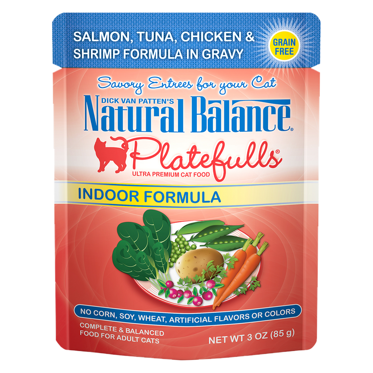 Natural Balance Platefulls® Indoor Salmon, Tuna, Chicken & Shrimp Formula in Gravy