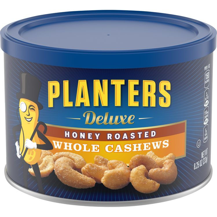 Planters Deluxe Honey Roasted Whole Cashews, 8.25 oz Canister