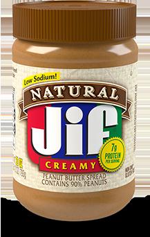 Jif ® Natural Creamy Peanut Butter Spread Contains 90% Peanuts