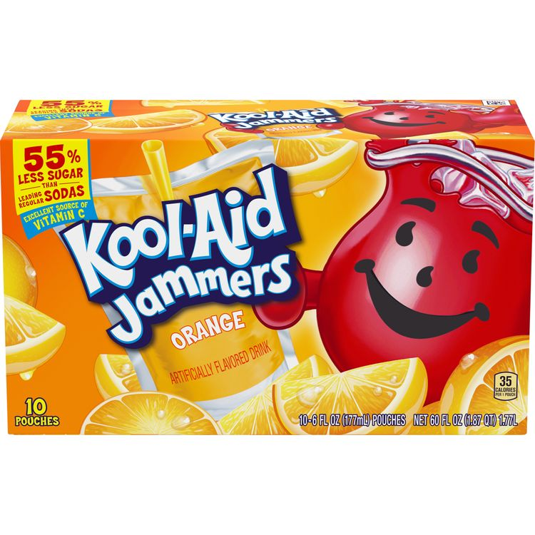 Kool Aid Jammers Orange Artificially Flavored Drink, 10 ct. Box