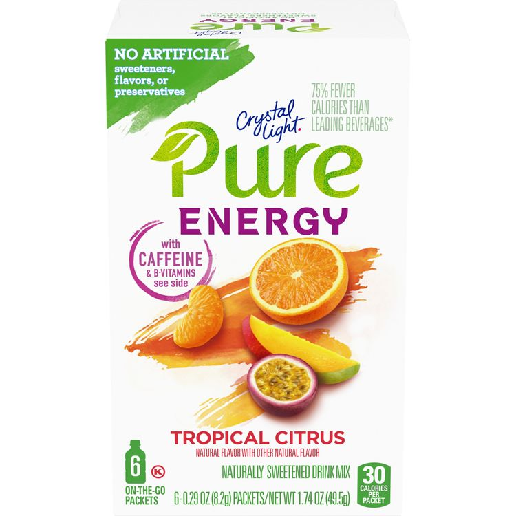 Crystal Light Pure Energy Tropical Citrus On-The-Go Powdered Drink Mix, 6 ct - 0.29 oz Packets