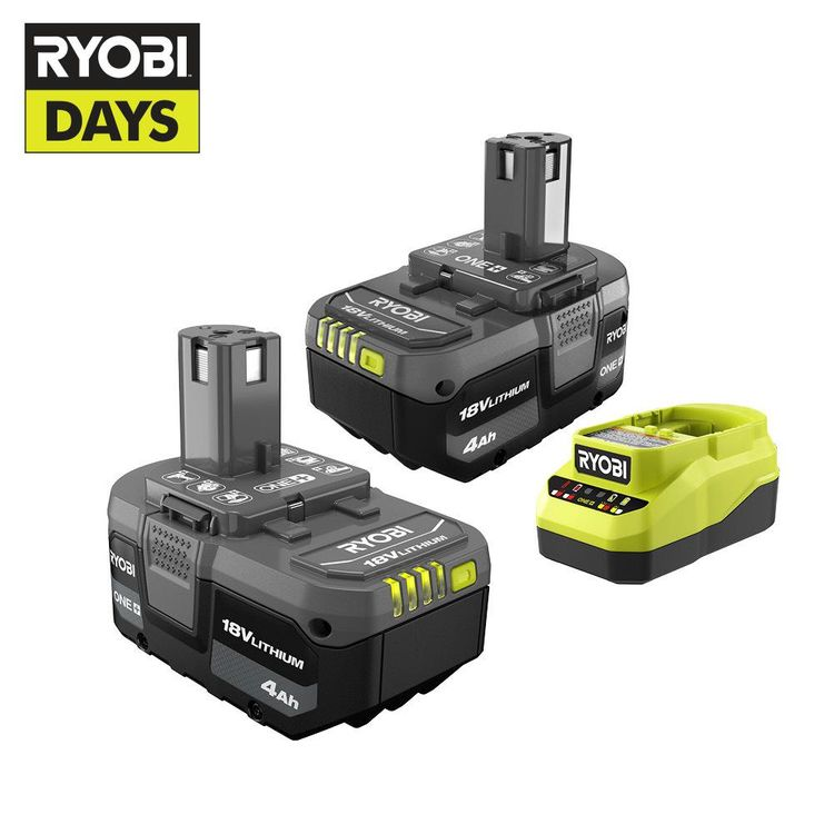 RYOBI ONE+ 18V Lithium-Ion 4.0 Ah Battery (2-Pack) and Charger Kit