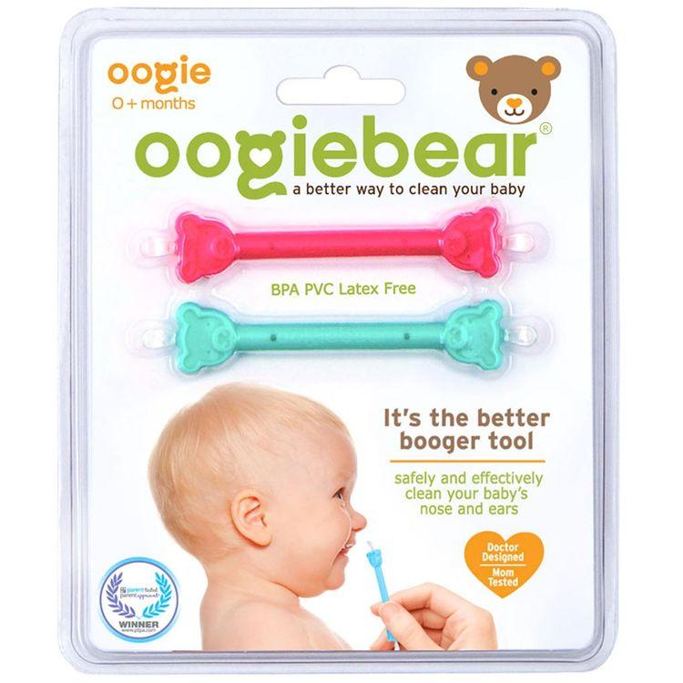 oogiebear 2-Pack Infant Nose & Ear Cleaner - raspberry & seafoam