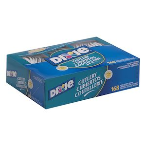 Dixie® Heavy-Weight Polypropylene Disposable Plastic Forks, Knives & Spoons Combo Boxes By Gp Pro, White, 6 Boxes/Case